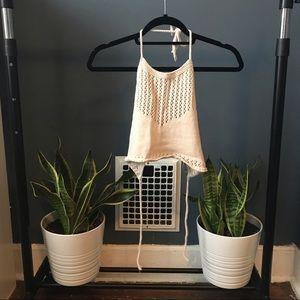 Kendall & Kylie Crotchet Knit Crop Top